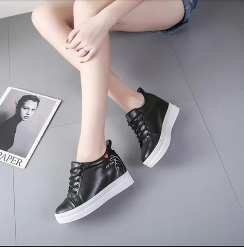 tênis sneaker preto salto anabela importado-pronta entrega