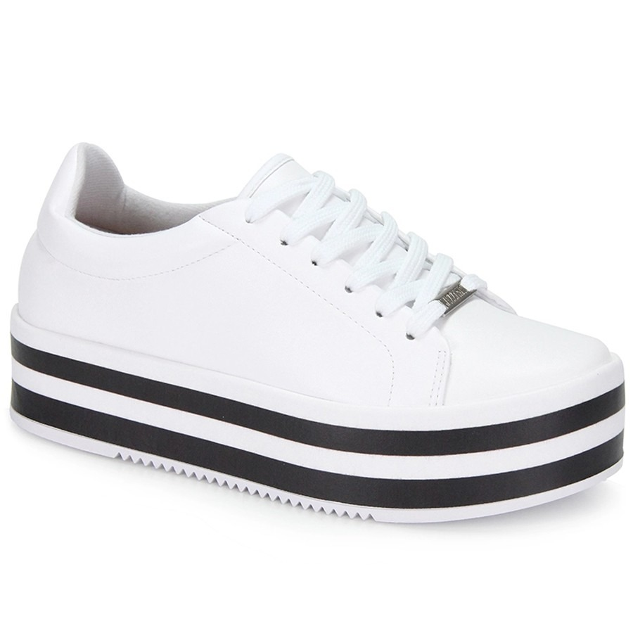 1b318b68a tênis solado alto flatform vizzano listras branco. Carregando zoom.