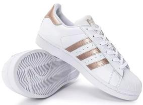 ff5f9dc3d3e Tenis Adidas Superstar Branco Com Listras Pretas Tamanho 34 - Tênis ...