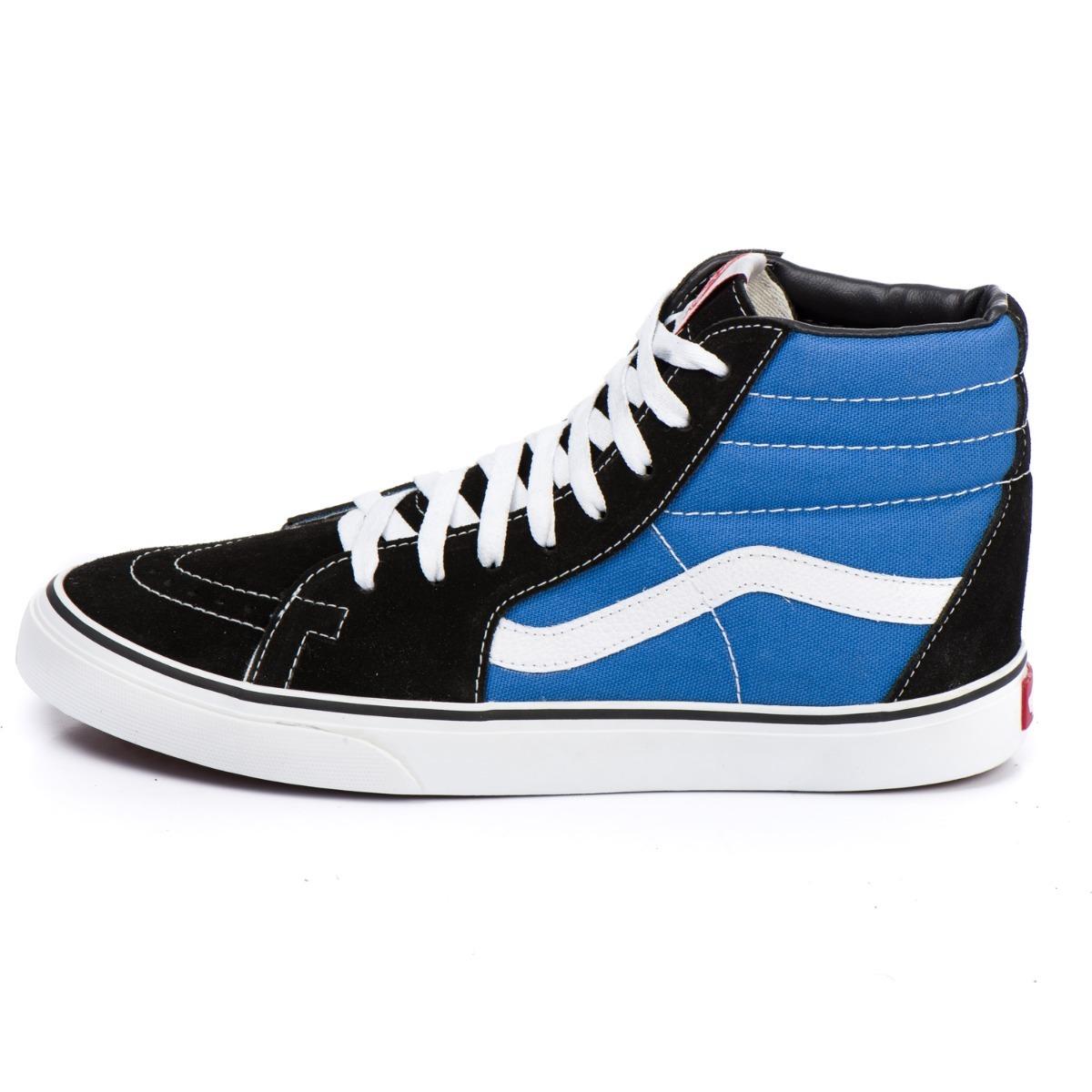 7afbc0ea2bb Tênis Vans Cano Alto Old Skool Preto E Azul Original 33-43 - R  199 ...