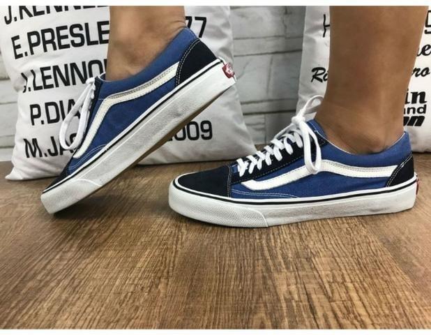 474787503 Tênis Vans Old Skool Azul Marinho - Frete Grátis - R  129