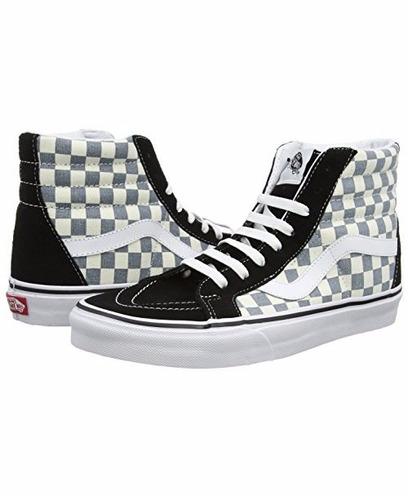 tênis vans sk8 hi reissue checkerboard black citadel