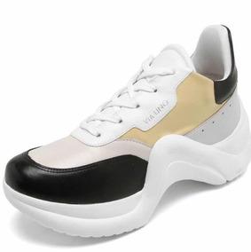 7c2e8fa67b Tênis Via Uno Dad Sneaker Chunky Bege preto Feminino Sapato