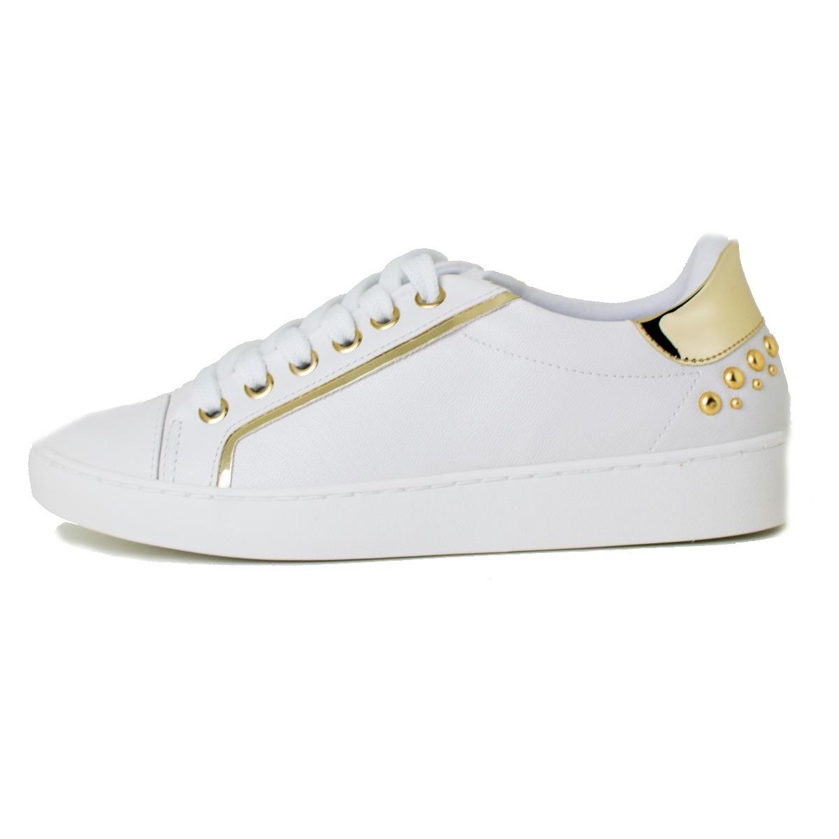 4a1d6a7454d tênis vizzano branco casual filete dourado cobra tachas. Carregando zoom.