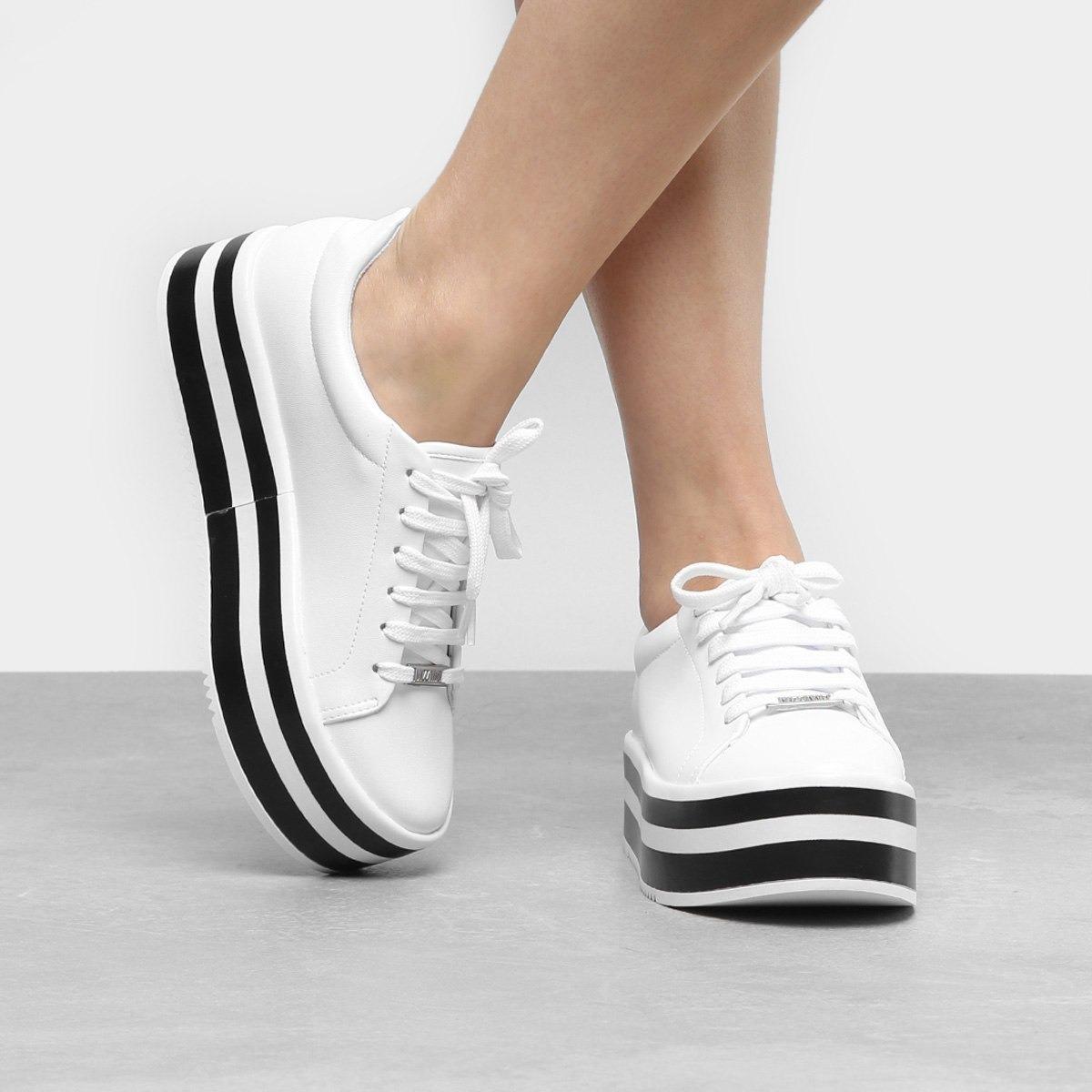 5e7aa53a7 tênis vizzano plataforma listrado feminino - branco. Carregando zoom.