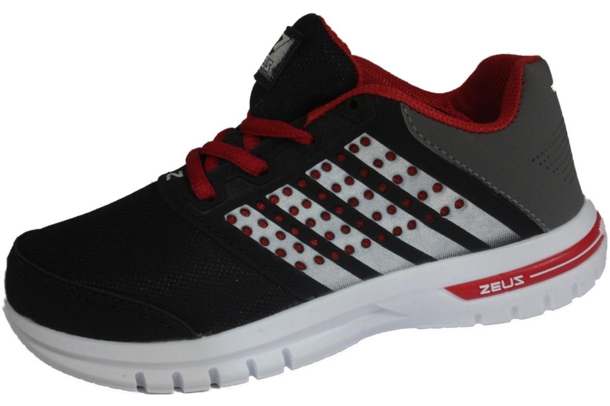 35bf04e6e tênis zeus infantil masculino branco/preto/vermelho hhx-1. Carregando zoom.