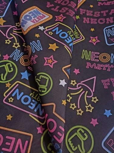tnt estampado festa neon balada decoracao 1,40mx 2 metros