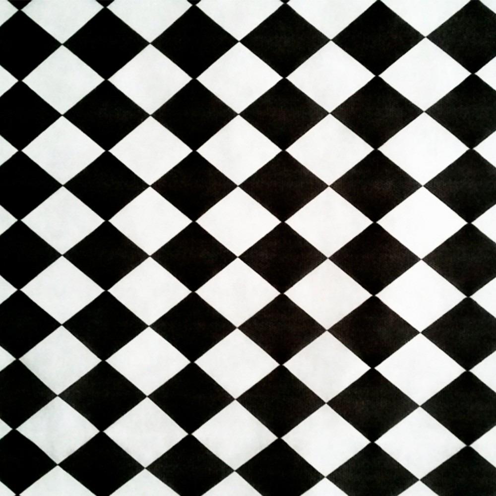 Tnt Estampado Xadrez Losango Preto E Branco 7 Metros Boteco R$ 52,91 em Mercado Livre -> Decoração Xadrez Preto E Branco