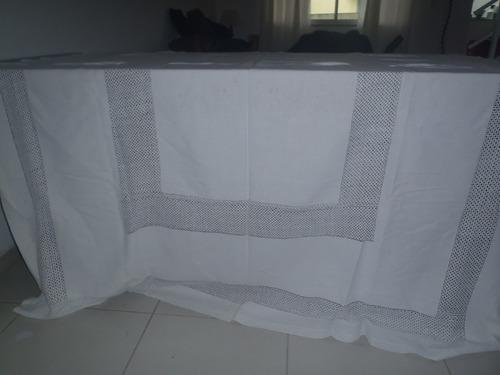 toalha antiga mesa branca linho trabalhado