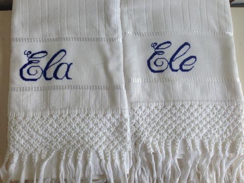toalha bordada em macrame