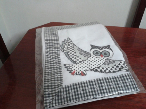 toalha centro de mesa em pathwork - coruja