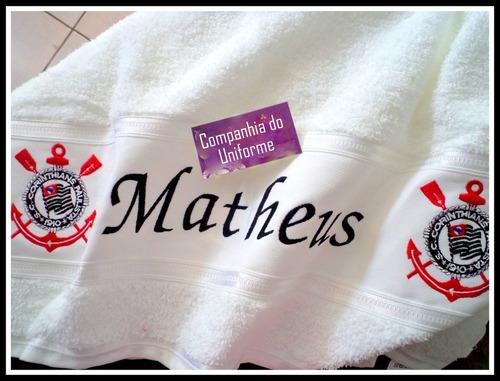 toalha de banho - corinthians - personalizada time futebol
