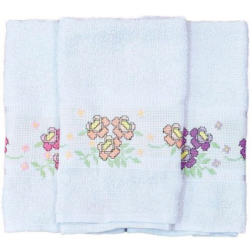 toalha de lavabo em ponto cruz bordado flores - 3 unidades
