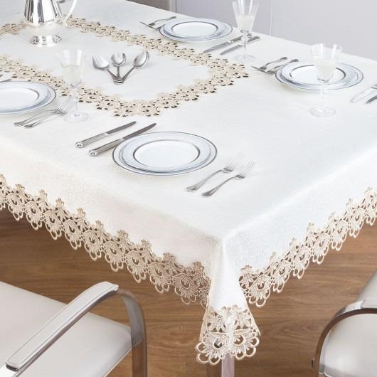 f6d94d4390 Toalha De Mesa 6 E 8 Cadeiras Branco Ou Bege Jolitex - R  174