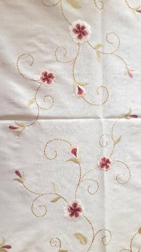 toalha de mesa jantar bordado com flores  1,80 x 3,60m