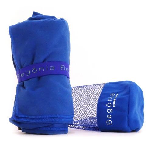 toalha de microfibra - begônia - 80cm x 130cm azul