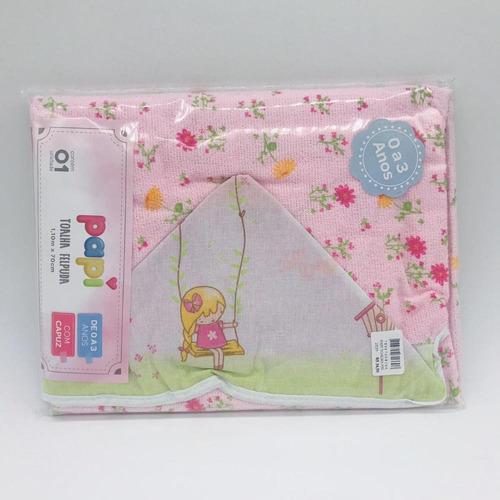 toalha felpuda com capuz jardim encantado - papi ref 0901