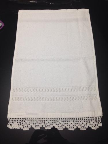 toalha lavabo artesanal manual bordada pérolas barrado croch