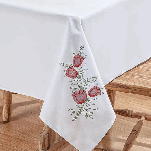 toalha mesa bordada branca primavera flor vermelha 1,40x1,40