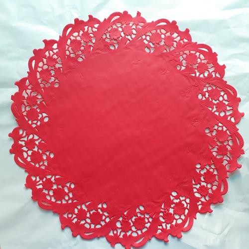 toalha rendada papel mago 30cm (300) vermelha c/10 unids