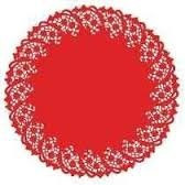 toalha rendada papel mago doilies 30cm (300) vermelha c/10 n