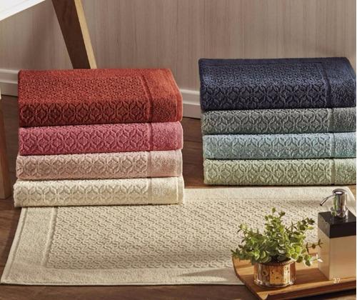 toalha tapete p/ piso banheiro 7 peças 100% algodão 570gr/m2