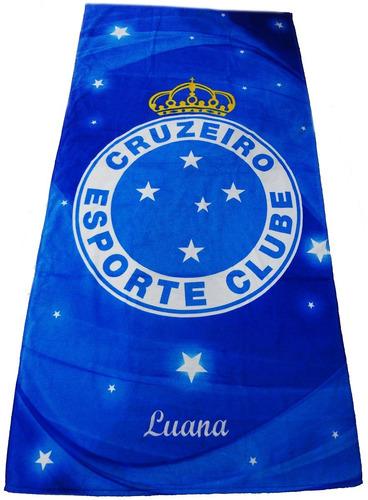 toalha time de futebol cruzeiro aveludada com nome bordado