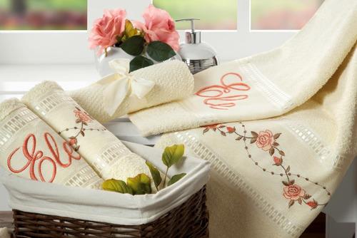 toalhas de banho bouquet 5 peças palha