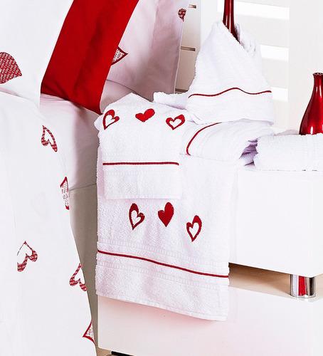 toalhas jogo banho coração
