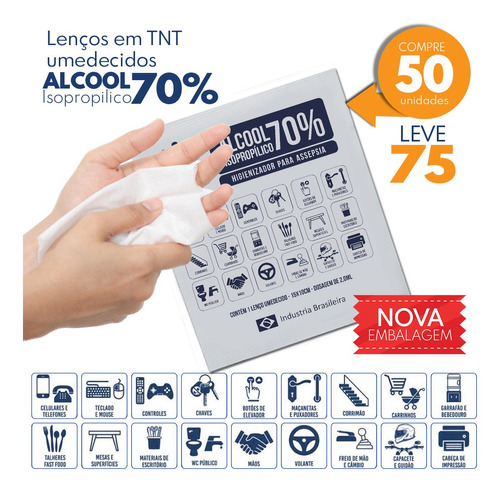 toalhas umedecidas  alcool gel 70% isopropilico c/50 unid