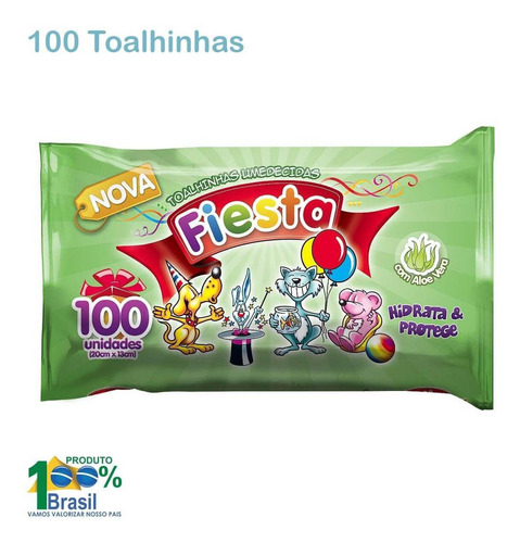 toalhas umidecidas fiesta wipes aloe vera - pacote 100 unid.