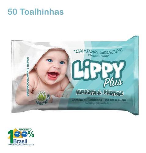 toalhas umidecidas lippy plus aloe vera - pacote 50 unid.