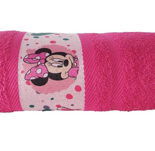 toalla algodón disney para niñas minnie 70 x 130 cm fucsia