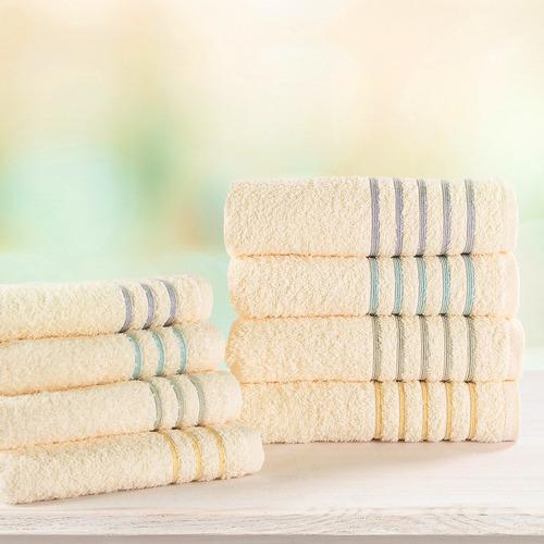 toalla ama de casa classic  con cenefa de color tamaño mano