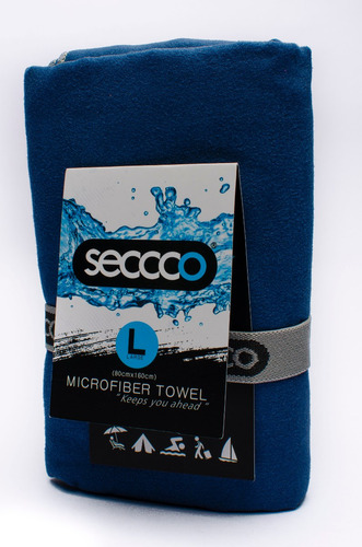 toalla de microfibra seccco talla l gris azul oscuro naranja