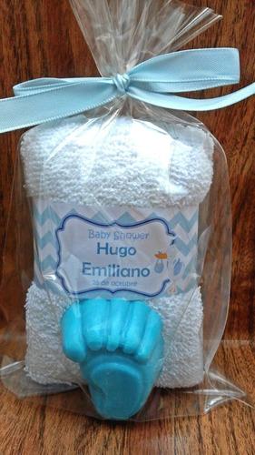 toalla facial y jabon pequeño recuerdo bautizo baby shower