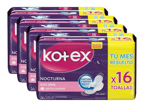 toalla femenina kotex nocturna x 16 pack x 4