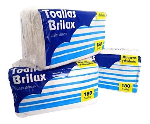 toalla intercalada brilux 180 hojas (bulto de 12) 2.2oomil