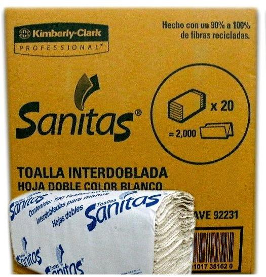 Toalla Interdoblada Sanitas 20 Paq Con 100 Hojas Bym - $ 246.00 en ...