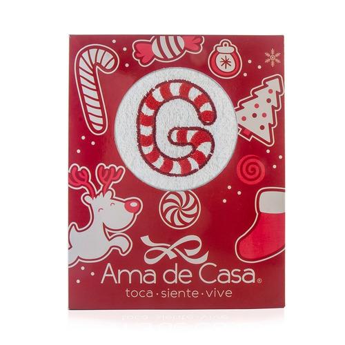 toalla navidad monograma candy  cane 69 x 44 cm
