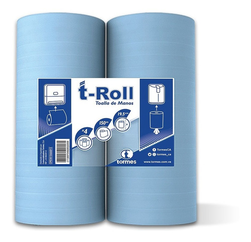 toalla p/ manos t- roll  (12 rollos/ espiral 150 mts c/ r)