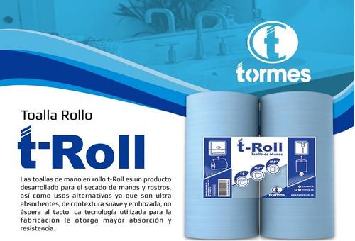 toalla p/ manos t- roll  (4 rollos/ espiral 150 mts c/ r)