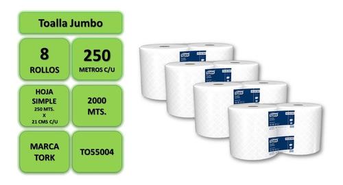 toalla papel 250 mts. c/u pack 8 rollos marca tork