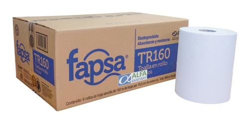 toalla para manos fapsa blanca 160 mt caja c/6 rollos