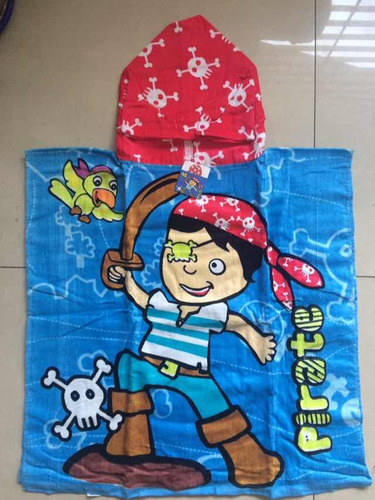 toalla playera tipo poncho infantil con capucha