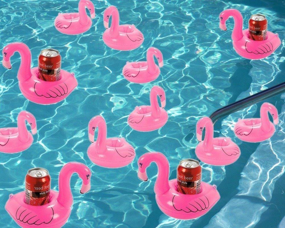 Toalla Tapete Dona Con Portavaso Inflable Flamingo O Pi 241 A