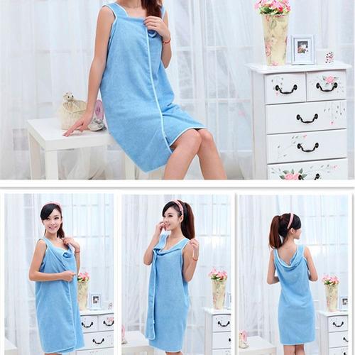 toalla vestido de microfibra para mujer azul h2040