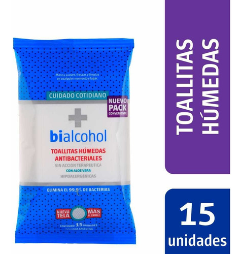 toallas antibacteriaeles humedas bialcohol x 15 unidades