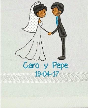 toallas de manos  bordadas para boda