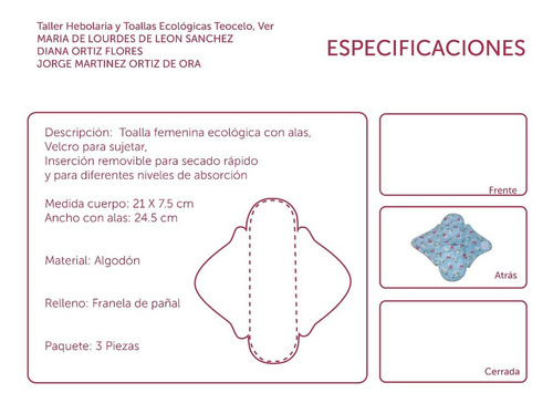 toallas ecológicas para menstruación (set 3)